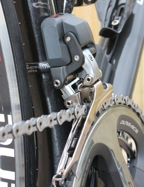 The front derailleur structure is notably stiff