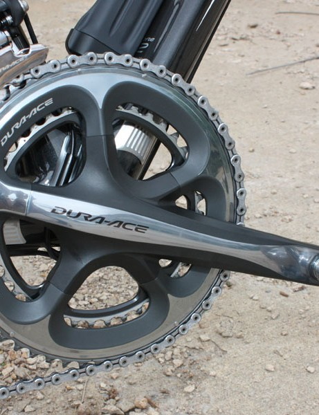 The Dura-Ace 7900 crankset's ultra-stiff outer chainring matched to the Di2 front derailleur adds up to the best front shifting in the industry