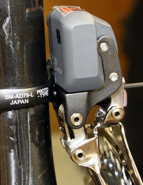 When properly adjusted, the front derailleur bracing screw (just barely visible in the centre of the photo) prevents any unwanted twist during shifts