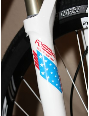 Even team sponsor RockShox gets into the mix with a custom finish on the Reba Team fork.