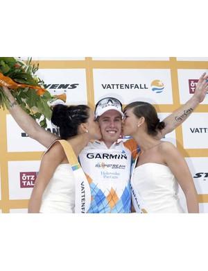 A very happy Tyler Farrar on the podium