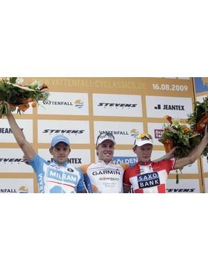 The podium: Gerald Ciolek (3rd), Tyler Farrar (1st) and Matti Breschel (2nd)