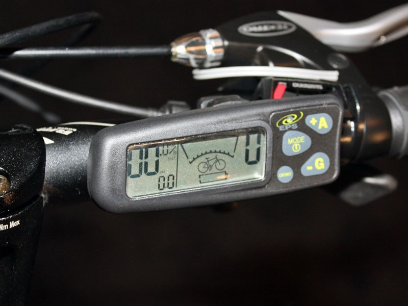 The Ride+'s LCD display indicates remaining battery charge, boost (or charge) level plus the usual speed and distance functions