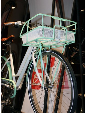The Simple City 8's front rack is perfectly sized for two paper grocery bags - or a case of beer laid on its side