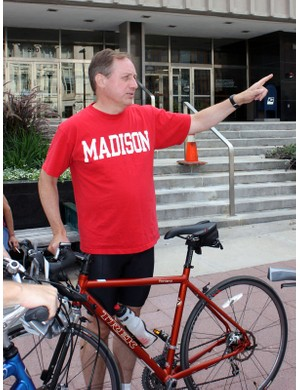 Madison, Wisconsin mayor Dave Cieslewicz gets ready to lead a group ride around the city's network of bike paths