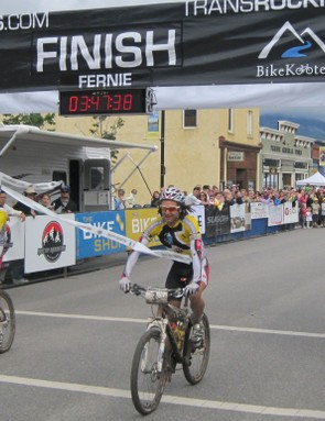 Rocky Mountain Factory Team duo of Stefan Widmer and Marty Lazarski cross the line victorious.
