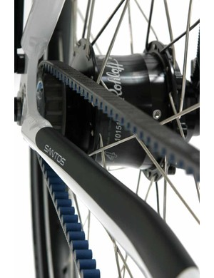 A close up of the Santos belt drive with Rohloff hub