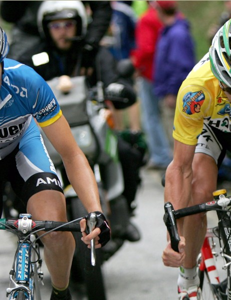 Tom Danielson and Floyd Landis battle on the climb of Brasstown Bald as Danielson went on to win stage five of the 2006 Tour de Georgia
