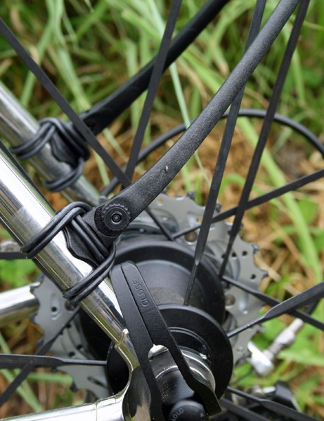 The Crud Roadracer's glass-filled nylon stays will snap if they touch the spokes
