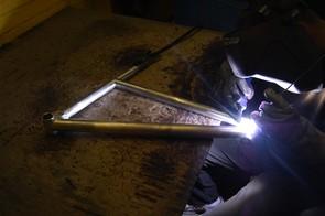 A welder at work in Nicolai's factory in Lubbrechtsen, Germany