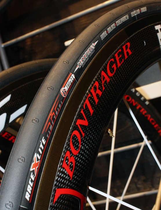 Bontrager's new Race X Lite Aero TT tyre incorporates extra 'wings' on the sidewalls for a smooth transition between tyre and rim - and a claimed 6.37 seconds saved in a 10km time trial