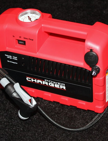 The Bontrager Power Charger is a portable rechargeable compressor with a built-in pressure gauge and Presta/Schrader-compatible head