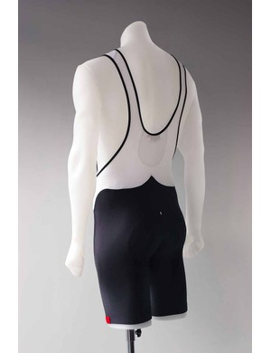 Solo Lugged bib shorts from the rear