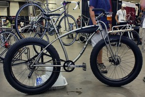 Black Sheep showed off this beautifully swoopy titanium snow bike.