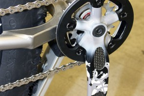 The giant chain stay yoke is built from flat titanium plate.