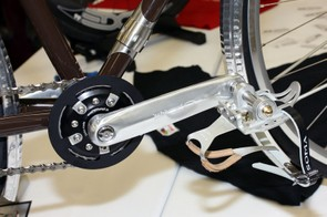 The Schlumpf crankset features two gear ratios built into the compact mechanism.