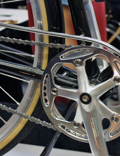 The custom stainless steel chain guard is polished to a high lustre.