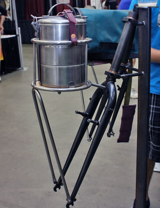 Sendero built this rack specifically around these stackable stainless food containers.