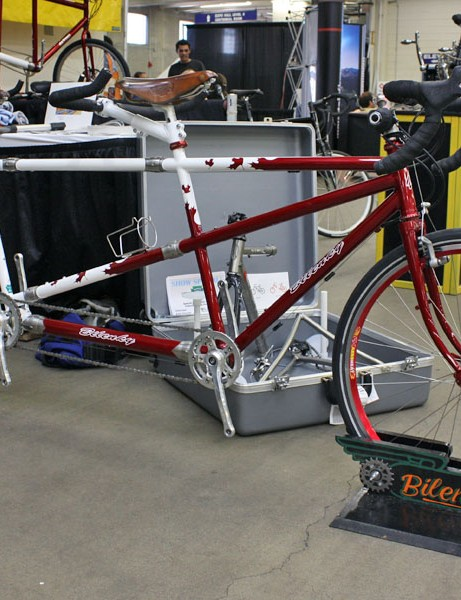 Bilenky's stunning red and white tandem includes S&S couplings for easier transport.