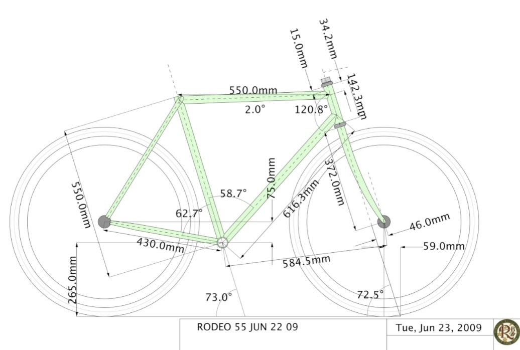 The geometry drawing of a 55cm Roadeo.