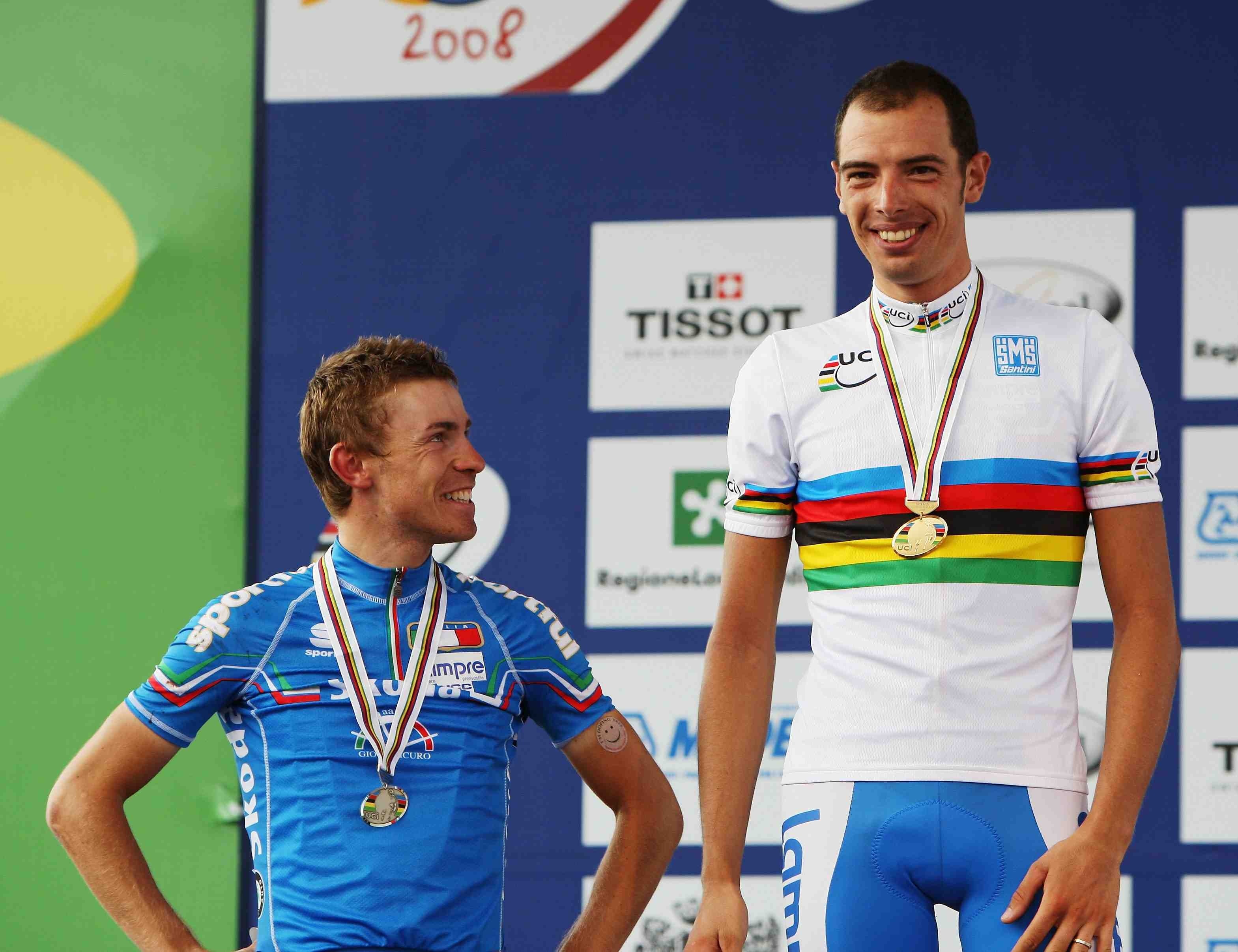 Lampre teammates Damiano Cunego (L) and Alessandro Ballan finished second and first in the 2008 world road race championship.