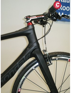 The carbon frame and fork are designed as one, with clean and tidy lines