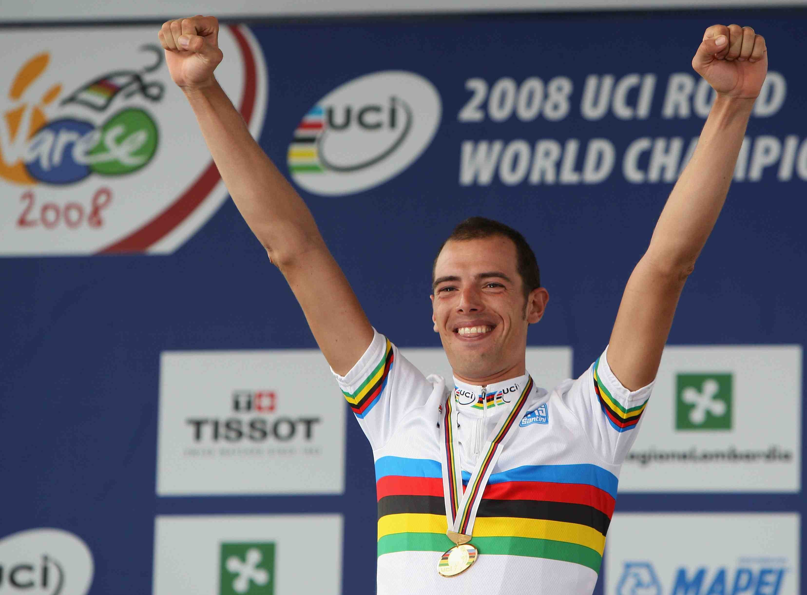 Alessandro Ballan of Italy celebrates winning the Elite Men's Road Race during the 2008 UCI Road World Championships on September 28, 2008 in Varese, Italy.