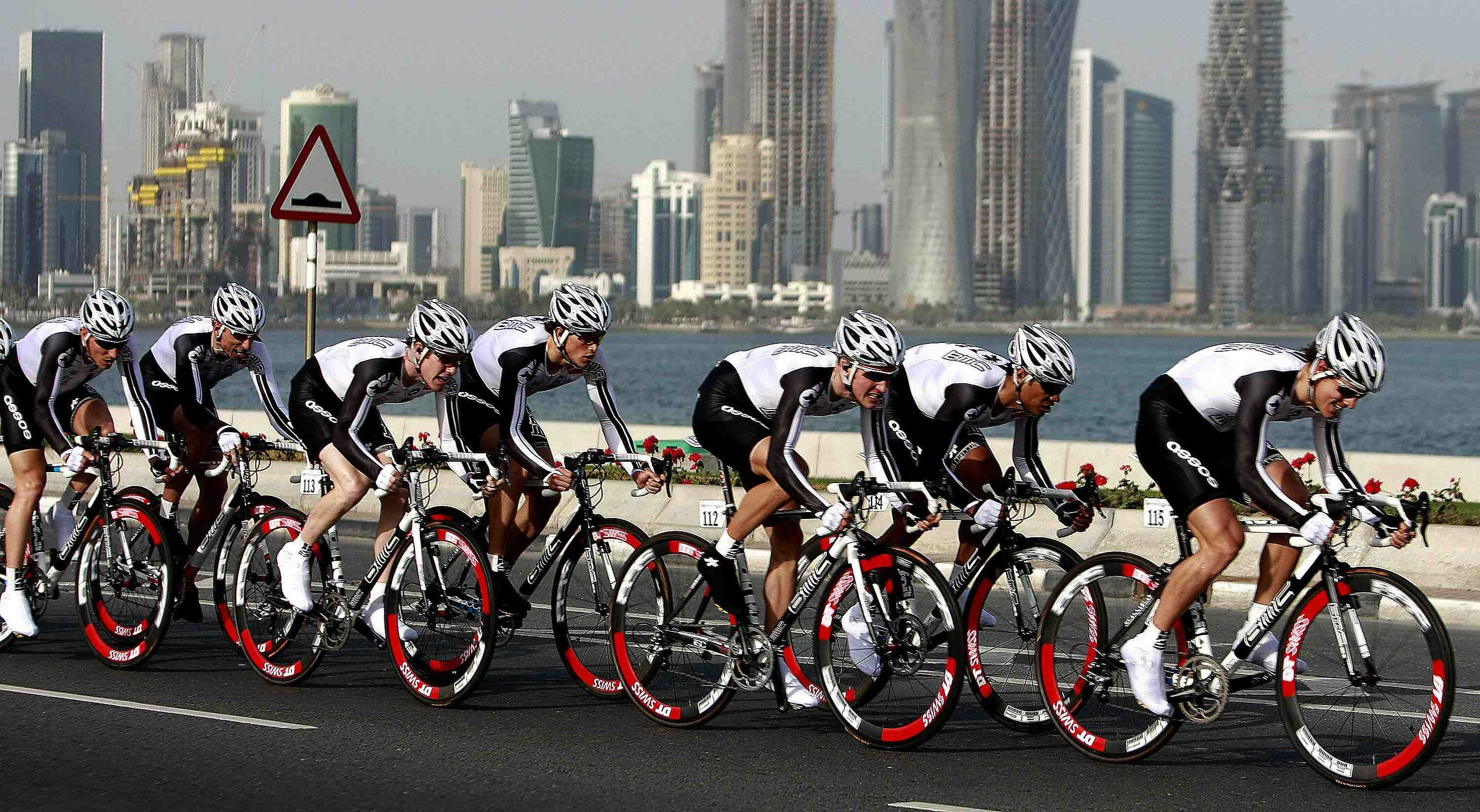 BMC Racing competes in the first stage of the 2009 Tour of Qatar cycling race, a six kilometers (3.7 miles) team time trial, in Doha on February 1, 2009.
