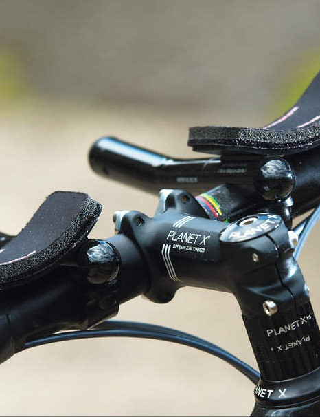 Our test model came with some upgrade tweaks such as these lightweight Vision clip-on bars