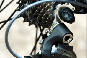 The Pro Dura Ace boasts a nice finish on its neat dropouts with replaceable gear hanger