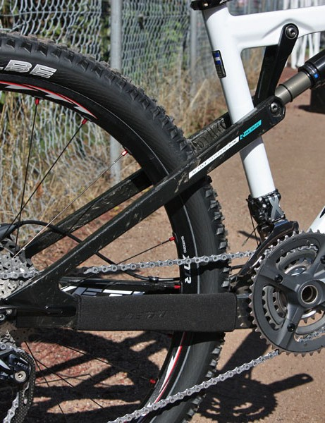 The all-new carbon fibre rear end surprisingly does away with Yeti's long-running flex pivot design