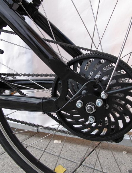 Among the chain-driven systems, the occasional belt drive electric bike could be seen, like this model from Dolphin