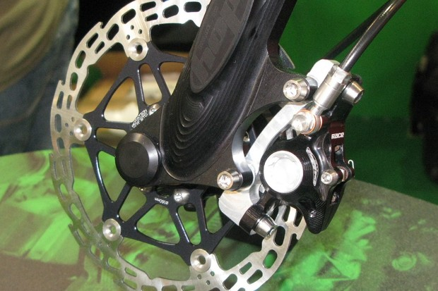 Here's the Race XC caliper and floating disc with lots of weight-saving titanium and aluminium fittings in evidence.