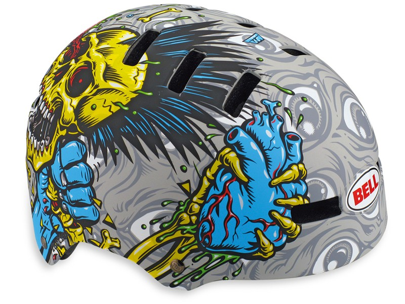 Bell have teamed up with famous skate artist Jimbo Phillips to spice up their latest helmets. This is the £24.99 Faction Jimbo Choke piss-pot