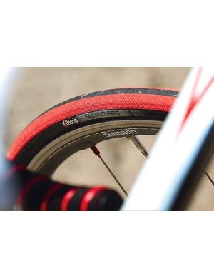 Shimano RS80 wheels  feature semi-carbon 24mm rims - a nice touch in cosmetic and comfort terms