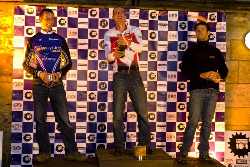 The open men's podium at the Kielder 100