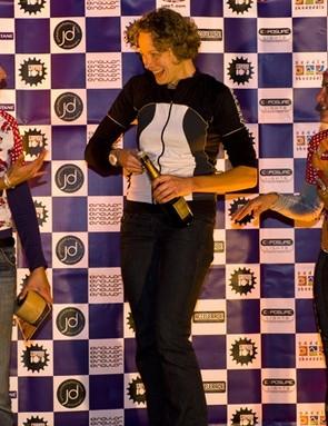 The open women's podium at the Kielder 100