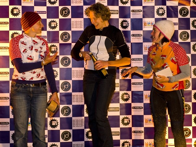 The open women's podium at the Kielder 100