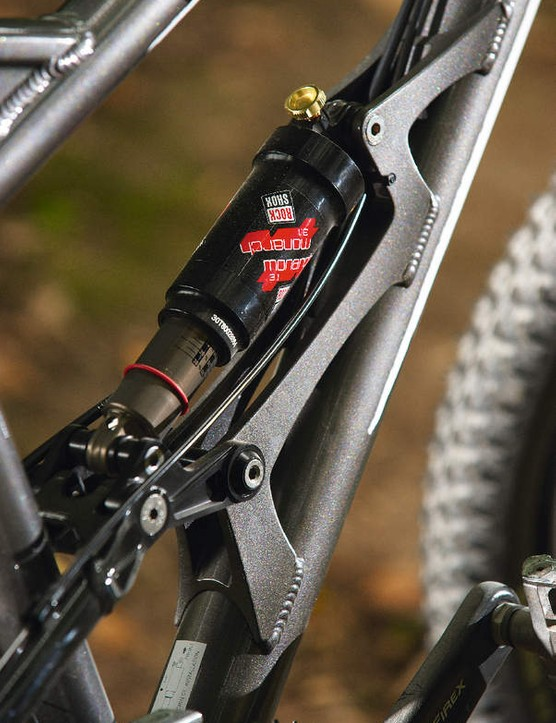 The rear shock mount is overbuilt and the cause of much of the bike's weight problem