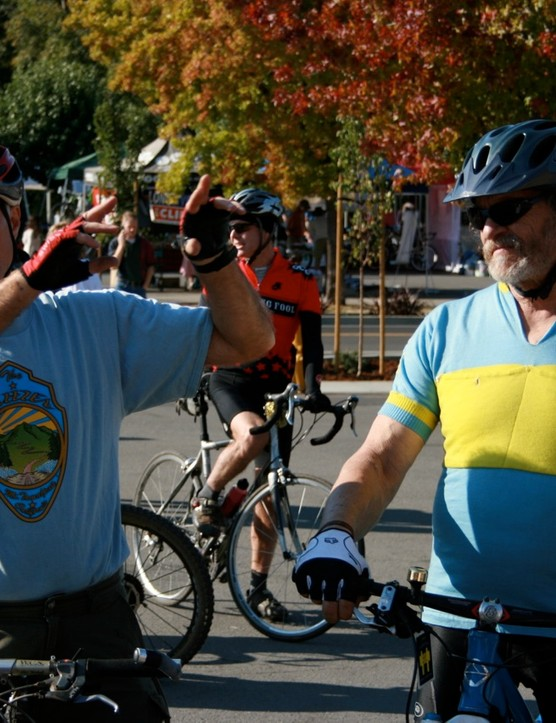 Mountain bike pioneers Joe Breeze (L) and Charlie Kelly led some mountain bike trail rides in 2008.