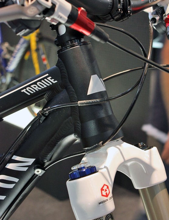 The Torque frame features a tapered head tube for use with 1 1/8