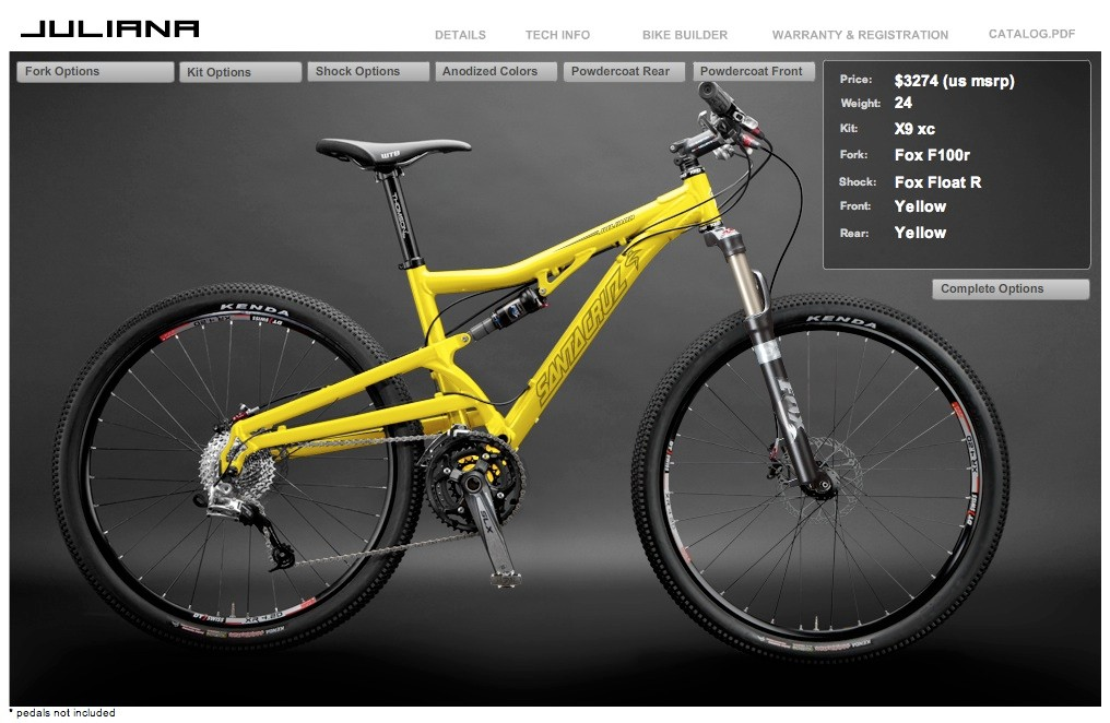 The SRAM X-9 kit includes a Fox F100r fork and Floar R shock, Avid Elixir CR disc brakes, and Easton Monkey Lite XC carbon bars.