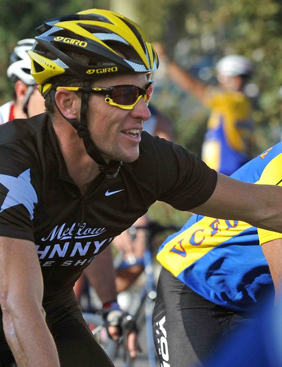 Lance Armstrong rides through Griffith Park in Los Angeles, California on September 10, 2009.