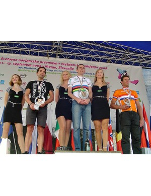BikeRadar's Jeff Jones on the top step after winning the men's 31-44yr time trial at the 10th Mondial de la Presse. Martin Gangleberger (L) was second with Mark Koghee (R) third