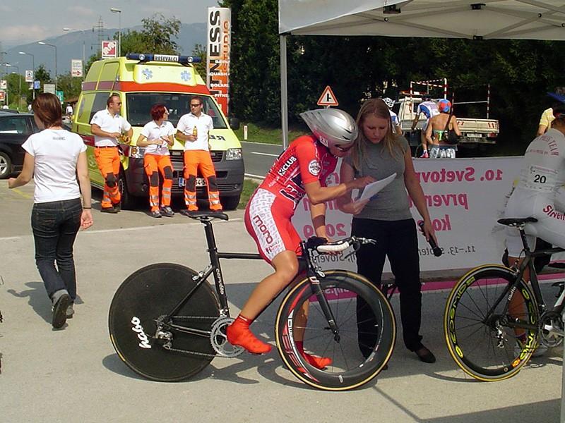 Women's time trial winner Brigitte Krebs checks her start time