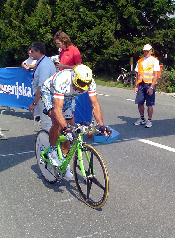 Italian Maurizio Marogna sets off on his winning ride in the men's 45-59yr time trial