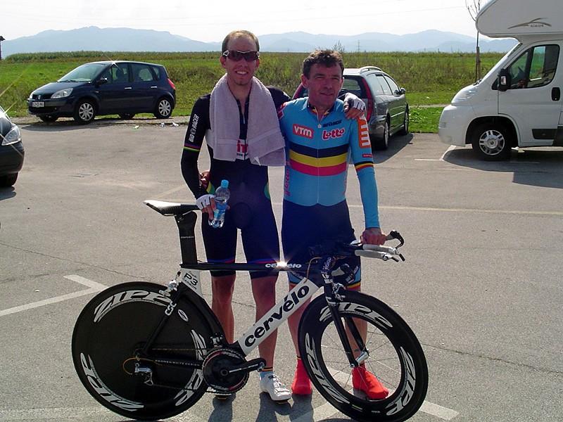 Belgians Frederik Backelandt and Rik Lintermans after Backelandt's winning ride in the men's 21-30yr time trial