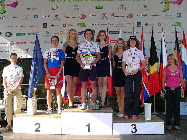 Brigitte Krebs on the top step again after winning the women's road race. Ilenia Lazzaro (L) was second with Marjetka Conradi (R) third