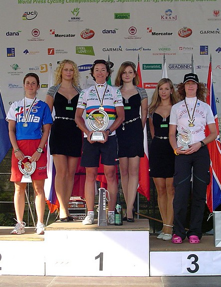 Brigitte Krebs on the top step again after winning the women's road race. Ilenia Lazzaro (L) was second with Marjetka Conradi (R) third