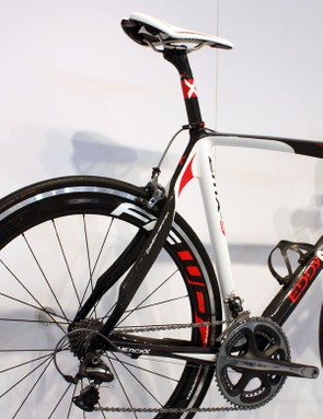 The Eddy Merckx EMX-5 flagship uses the company's highest grade of carbon fibre and a tapered front end.